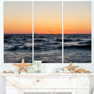 Red Dramatic Sunset Over Beach - Large Seashore Canvas Print