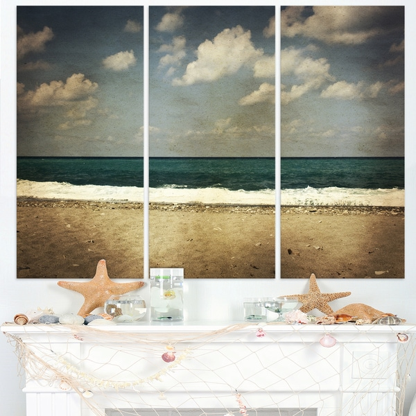Vintage Beach with Heavy Clouds - Large Seashore Canvas Print