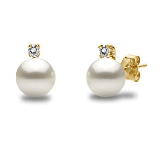 DaVonna 14k Gold with .10tcw Diamond Round White Akoya High Luster Pearl Stud Earrings 6.5-7mm