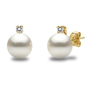 DaVonna 14k Gold with .10tcw Diamond Round White Akoya High Luster Pearl Stud Earrings 7-7.5mm