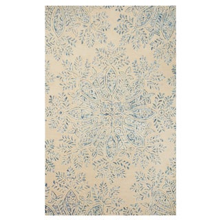 Excell St. Moritz Blue/Ivory Wool/Cotton Area Rug (5' x 8')