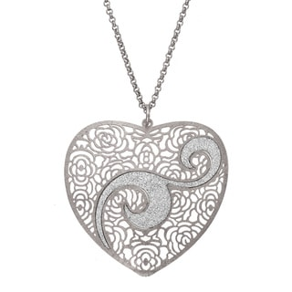 Isla Simone - Silver Tone Concave Heart Crystalized Swirl Necklace