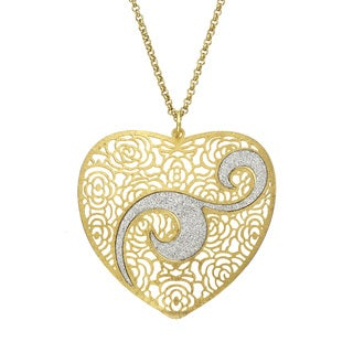 Isla Simone - Gold Tone Concave Heart Crystalized Swirl Necklace