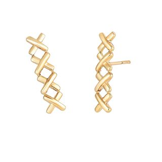 14k Yellow Gold 17-millimeter x 4.2-millimeter Small Shiny Ear Climber with Push-back Clasp