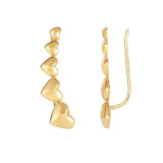14k Yellow Gold 23-millimeter x 6-millimeter Shiny Graduated Heart Series Ear Climber Fancy Earrings