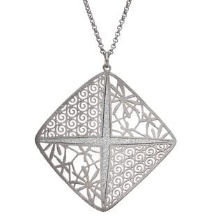"Isla Simone - Silver Tone Square Wth Crystalized ""X"" Necklace"