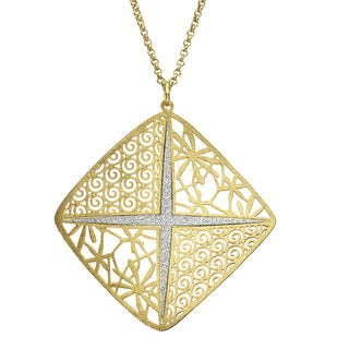 "Isla Simone - Gold Tone Square Wth Crystalized ""X"" Necklace"