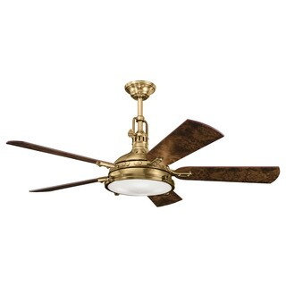 Kichler Lighting Hatteras Bay Collection 56-inch Burnished Antique Brass Ceiling Fan w/Light