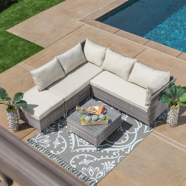 4 piece patio furniture set outdoor cushioned love seat wicker sofa party garden. Black Bedroom Furniture Sets. Home Design Ideas