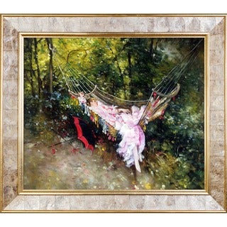 Giovanni Boldini 'The Hammock, 1872-1874' Hand Painted Framed Canvas Art