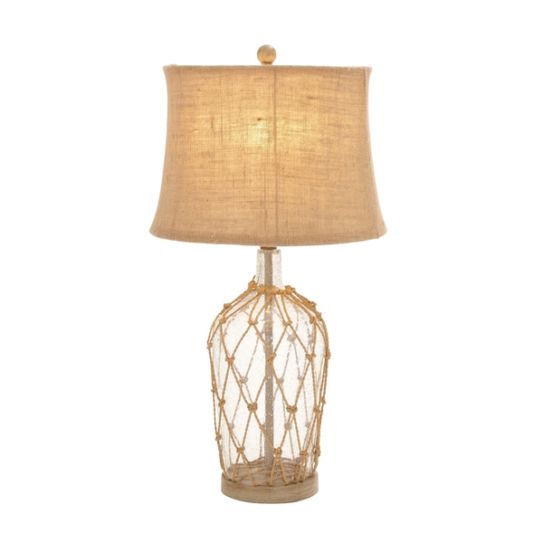 Brown/Beige Rope/Iron/Linen 29-inch Table Lamp