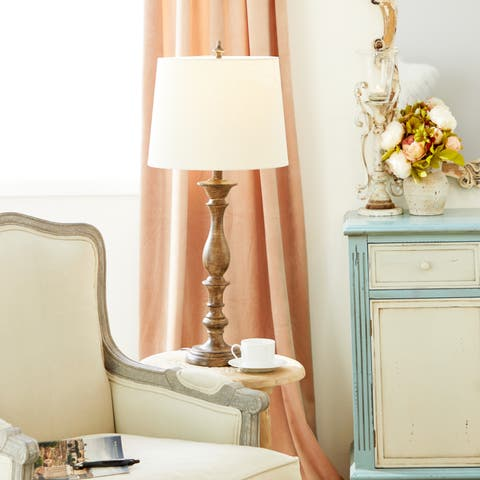 Polystone Canvas/Wood 34-inch Table Lamp, Set of Two by Studio 350