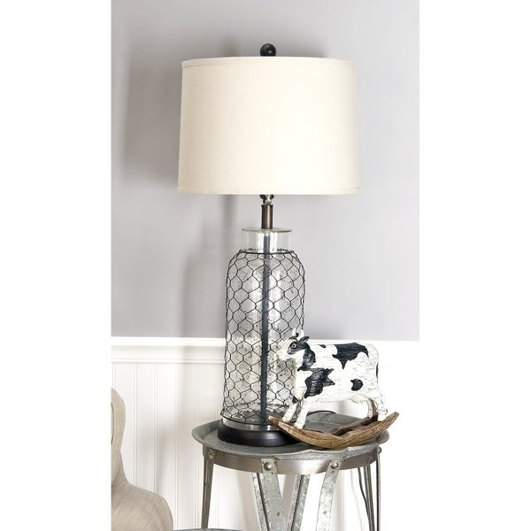 Set of 2 Coastal 32 Inch Iron Wire and Glass Table Lamps by Studio 350
