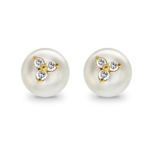 DaVonna 14k Yellow Gold CZ Flower Charms Button Shape Freshwater Pearl Stud Earrings (9 - 9.5mm)