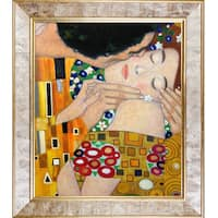 Gustav Klimt 'The Kiss, Close-Up' Hand Painted Framed Canvas Art