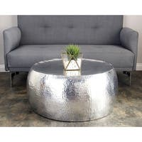 Modern 14 x 30 Inch Silver Aluminum Drum Coffee Table by Studio 350