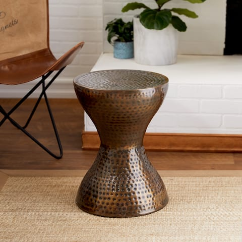 Modern 19 x 14 Inch Hourglass Metal Accent Table by Studio 350