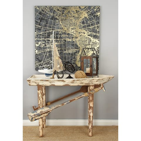 Coastal 33 x 49 Inch Distressed Wooden Boat Accent Table by Studio 350