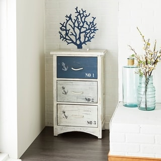 Link to Coastal 30 x 19 Inch Distressed Wooden 3-Tiered Chest by Studio 350 Similar Items in Living Room Furniture