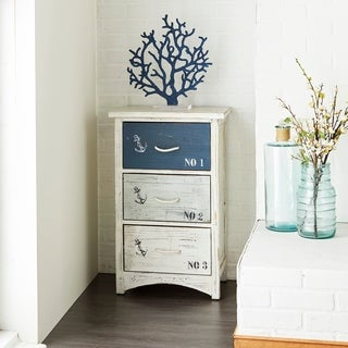 Coastal 30 x 19 Inch Distressed Wooden 3-Tiered Chest by Studio 350