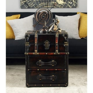 Wood Leather Side Cabinet (18 inches wide x 23 inches high)