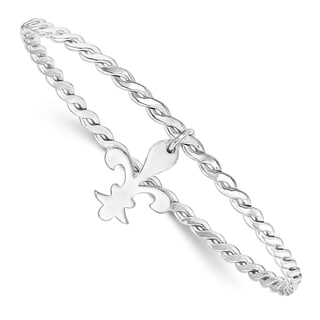 Sterling Silver Polished and Textured Fleur De Lis Bangle by Versil