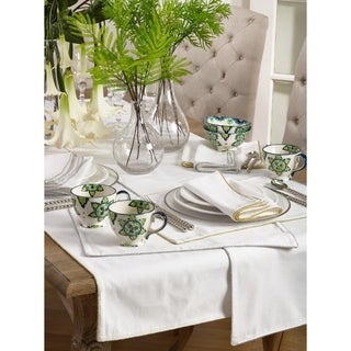 Luana Collection Shimmering Border Design Dinner Napkins (Set of 4)