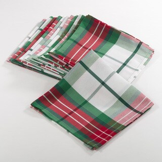 Vernor Collection Plaid Design Holiday Dinner Napkins (Set of 12)