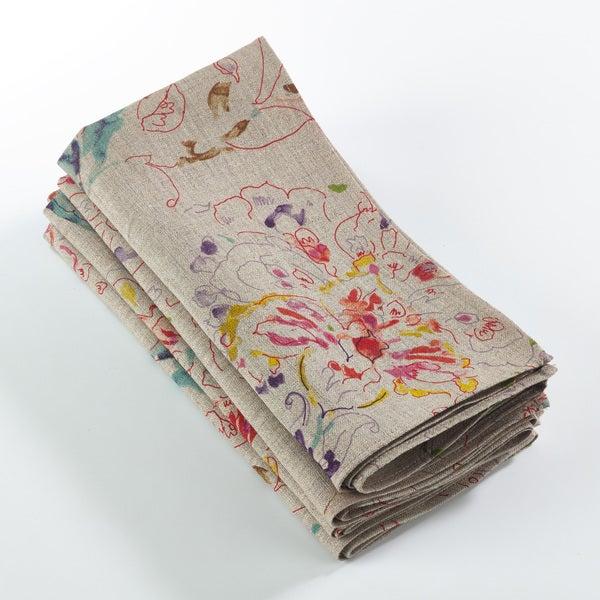 Primavera Collection Printed Floral Design Napkin (Set of 4)