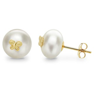 DaVonna 14k Yellow Gold Butterfly Charms 8-9mm Button Shape Freshwater Pearl Stud Earrings.