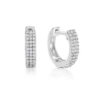 Sterling Silver 1/4ct TDW Diamond Hoop Earrings, 1/2 Inch