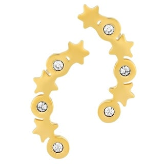 18k Gold Plated Cubic Zirconia Stars Ear Climber