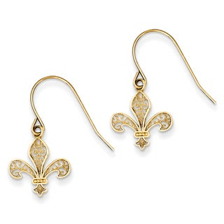 14k Fleur de lis Shepherd Hook Earrings by Versil