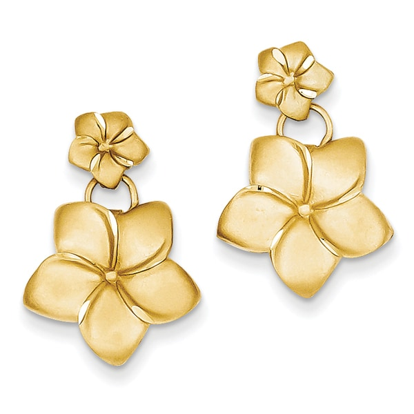 14k Plumeria Dangle Earrings By Versil