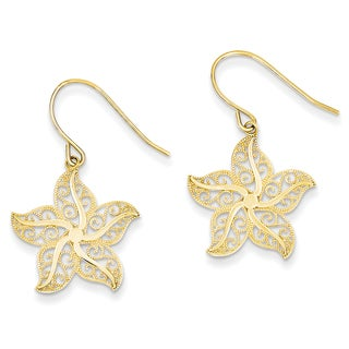 14k Filigree Starfish Shepherd Hook Earrings by Versil