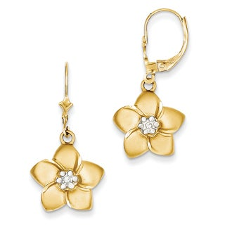 14k and Rhodium Plumeria Earrings by Versil