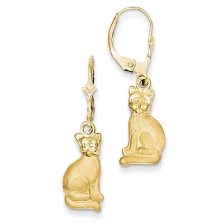 14k Satin Cat Dangle Leverback Earrings by Versil