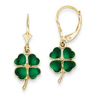 14k Enameled Clover Leverback Earrings by Versil