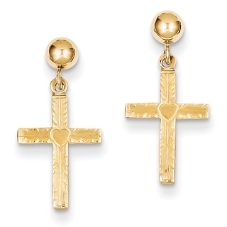 14k Polished and Satin Cross Dangle Earrings by Versil