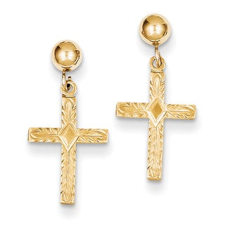 14k Polished and Textured Cross Earrings by Versil