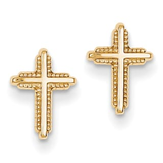 14K Yellow Gold Polished and Textured Cross Post Earrings by Versil