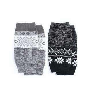 Muk Luks Women's Acrylic 2 Pair Pack Reversible Snowflake Boot Toppers