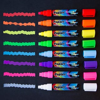 Medium 8mm Fluorescent Chalk Markers (Set of 8)