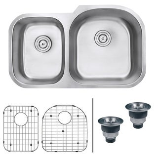 Ruvati RVM4605 Undermount 16-gauge 34-inch Double-bowl Right-configuration Kitchen Sink