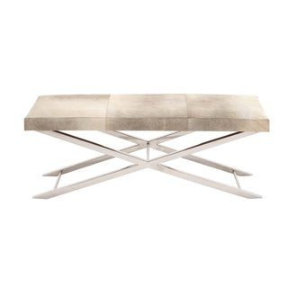 Stainless Steel Grey Leather Hide Bench
