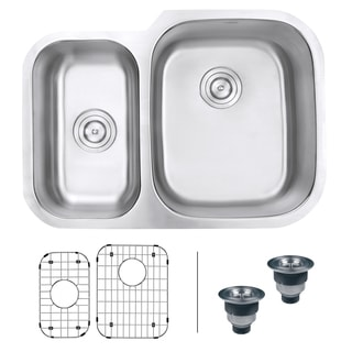 Ruvati RVM4505 Undermount 16-gauge 29-inch Double-bowl Kitchen Sink - Right Configuration