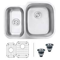 Ruvati 29-inch Undermount 40/60 Double Bowl 16 Gauge Stainless Steel Kitchen Sink - RVM4505