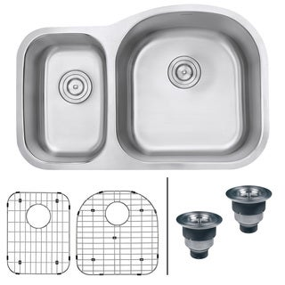 Ruvati RVM4405 Undermount 16-gauge 32-inch Right Configuration Double Bowl Kitchen Sink