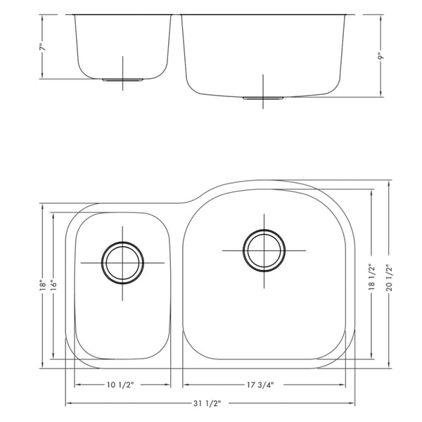Ruvati 32-inch Undermount 40/60 Double Bowl 16 Gauge Stainless Steel Kitchen Sink - RVM4405
