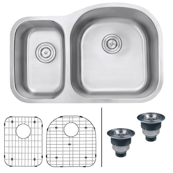 Ruvati 32-inch Undermount 40/60 Double Bowl 16 Gauge Stainless Steel Kitchen Sink - RVM4405. Opens flyout.